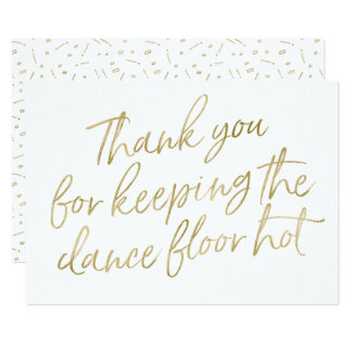 """Gold Hand Lettered """"Thank you"""" DJ, Musician, Band Card"""