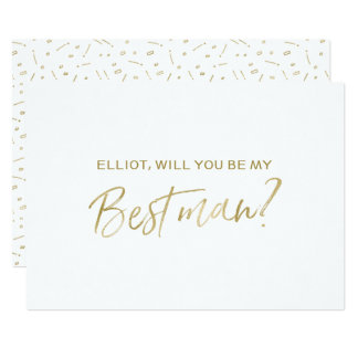 """Gold Hand lettered """"Will you be my best man"""" Card"""