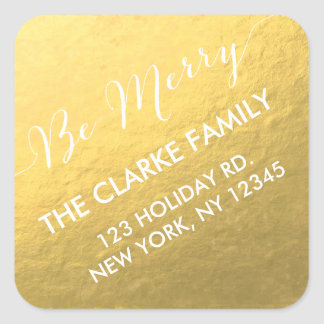 Gold Handwriting Be Merry Holiday Address Sticker