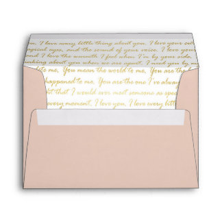 Gold Handwritten Script Love Letter Inside Lined Envelope