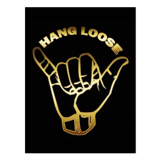 GOLD HANG LOOSE SIGN POSTCARD