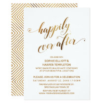 Gold Happily Ever After Post Wedding Celebration Invitation