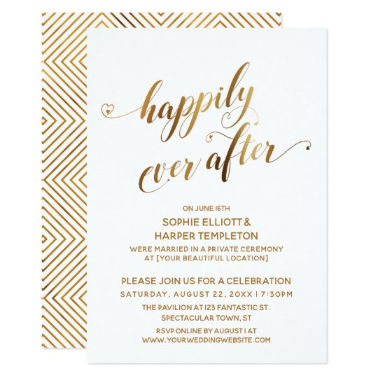 Post Wedding Party Invitation: Gold Happily Ever After Post Wedding Celebration
