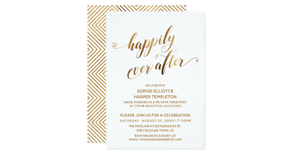 Happily Ever After Wedding Invitations: Gold Happily Ever After Post Wedding Celebration