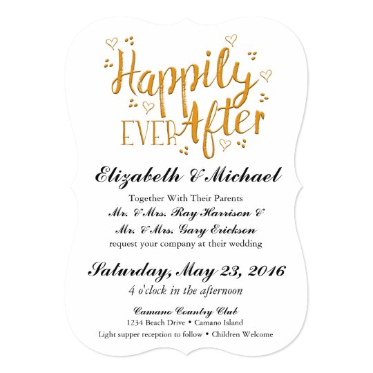 After The Wedding Invitations: Gold Happily Ever After Wedding Invitation