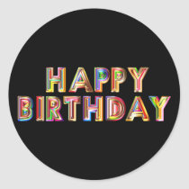 Gold Happy Birthday Classic Round Sticker