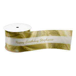"Gold ""Happy Birthday""  or Any Occasion, Anyone Satin Ribbon"