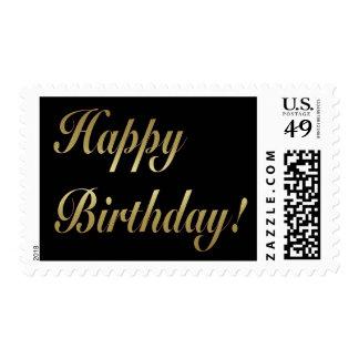 Gold Happy Birthday Postage Stamp