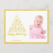 Gold Happy Holidays Christmas Tree Holiday Postcard