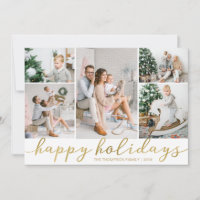 Gold Happy Holidays Photo ChristCard Five Pictures Holiday Card