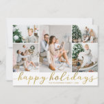 """Gold Happy Holidays Photo ChristCard Five Pictures Holiday Card<br><div class=""""desc"""">Use our faux gold foil """"Happy Holidays"""" photo Christmas cards with five pictures and to wish your friends and family a merry Christmas. BONUS: The patterned backer can be changed to a different pattern and color. Go to the """"Personalize This Template"""" section then click the """"Click to Customize Further"""" at...</div>"""