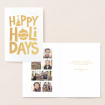 Gold Happy Holidays photo collage card