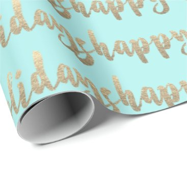 Beach Themed Gold Happy Holidays Script Pastel Mint Tiffany Wrapping Paper