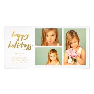 Gold Happy Holidays White 3 Frame Photocard Card