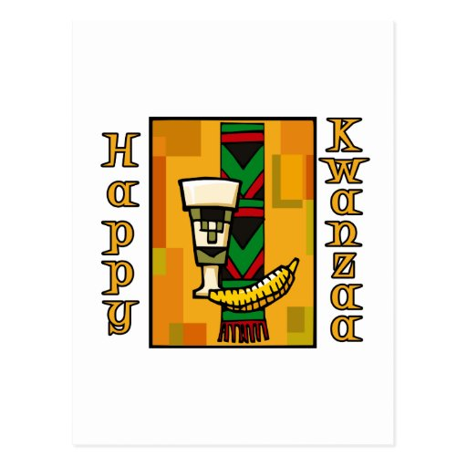 Gold Happy Kwanzaa Post Cards