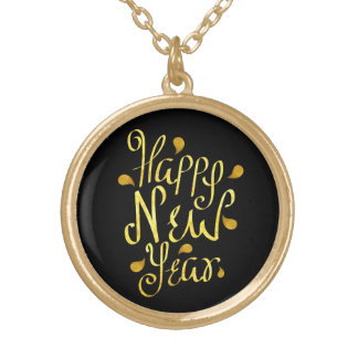 Gold Happy New Year Gold Plated Necklace