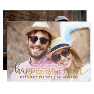 Gold Happy New Year Script | Custom Photo Card