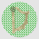 Gold harp with green clover Envelope Seal Sticker