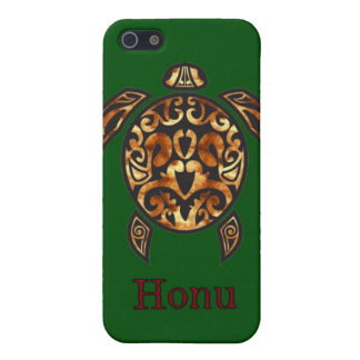 Gold Hawaiian Sea Turtle on Ocean Green Case For iPhone SE/5/5s