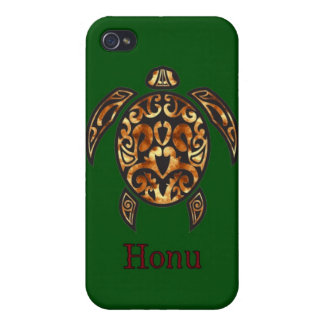 Gold Hawaiian Sea Turtle on Ocean Green iPhone 4 Covers
