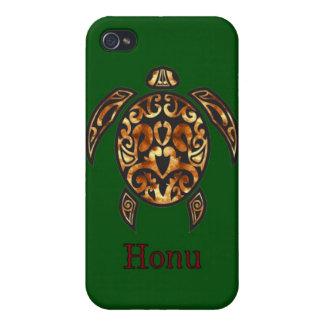 Gold Hawaiian Sea Turtle on Ocean Green iPhone 4 Covers