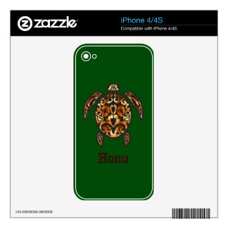 Gold Hawaiian Sea Turtle on Ocean Green Skin For The iPhone 4