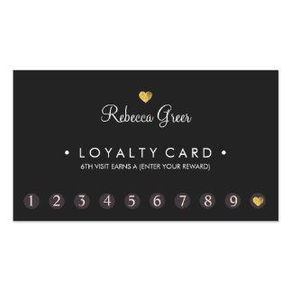 Gold Heart 10 Punch Salon Customer Loyalty Card