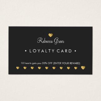 Gold Heart 10 Punch Salon Customer Loyalty Card 2