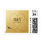 Gold Heart Airplane Stamp for Destination Wedding