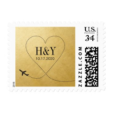 custompaperworks Gold Heart Airplane Stamp for Destination Wedding