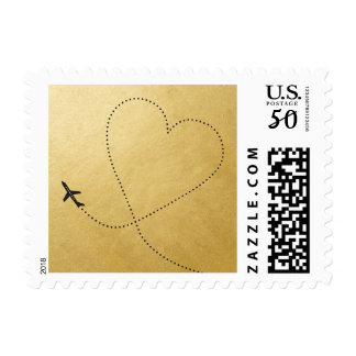 Gold Heart Airplane | Travel Theme Stamp