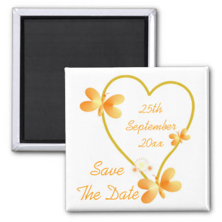 Gold Heart And Butterflies Save The Date Magnet