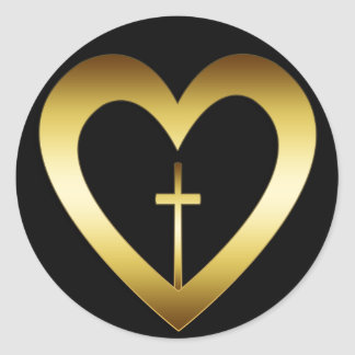 GOLD HEART AND CROSS CLASSIC ROUND STICKER