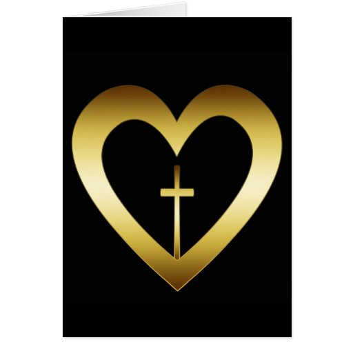 GOLD HEART AND CROSS GREETING CARD