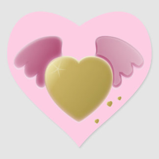 Gold Heart and Pink Wings Valentine Sticker