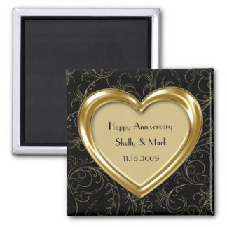 Gold Heart and Scrolls Anniversary Magnet