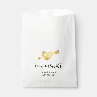 Gold Heart & Arrow Monogram Wedding Favor Bags
