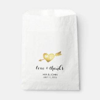 Gold Heart & Arrow Monogram Wedding Favor Bags