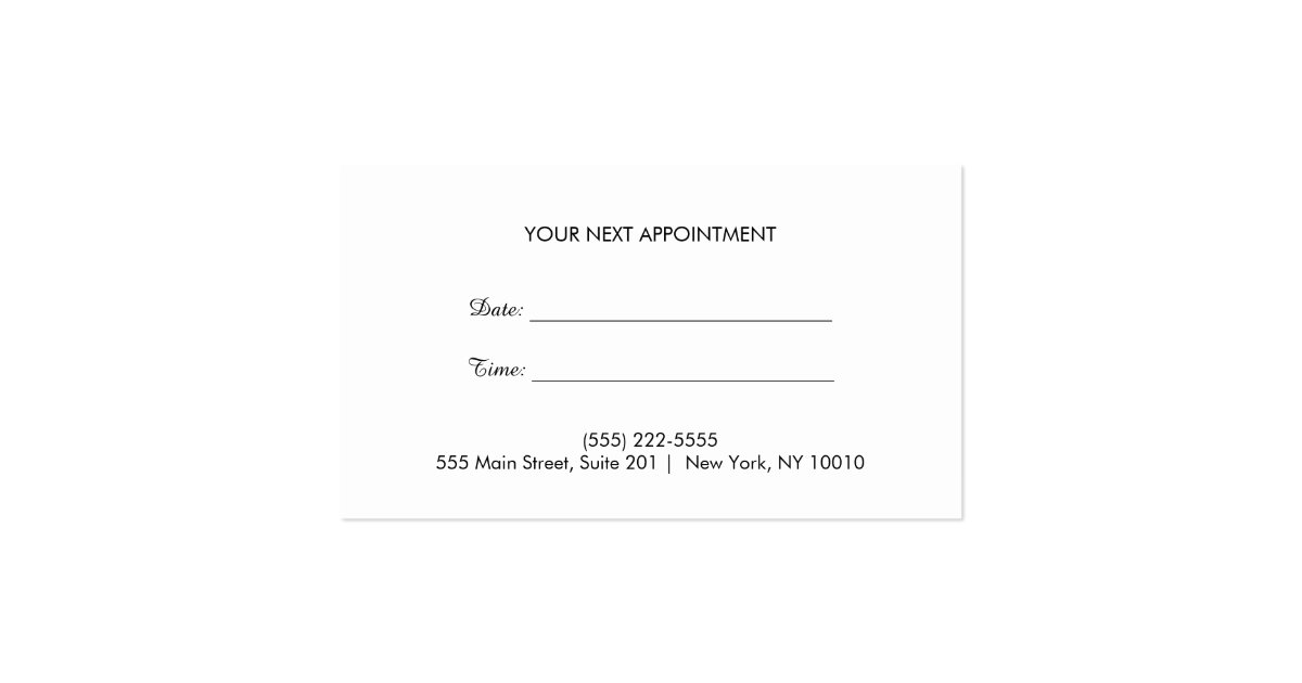 gold heart beauty salon appointment reminder business card