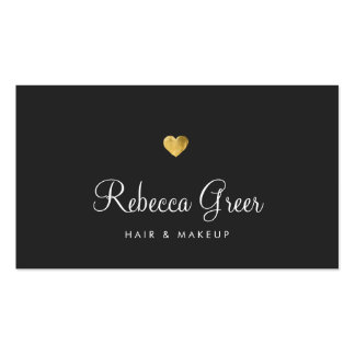 Gold Heart Black Beauty Consultant Appointment Business Card
