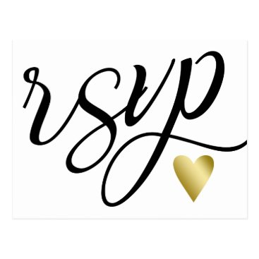 Valentines Themed Gold Heart & Black Calligraphy RSVP Postcard