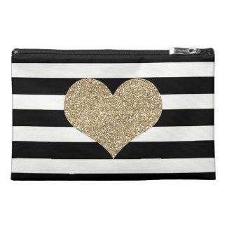 Gold Heart Black/White Stripe Travel Accessory Bag