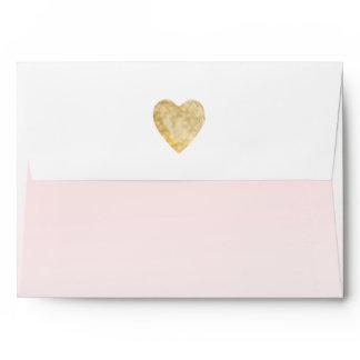 Gold Heart Blush Pink Ombre Envelope