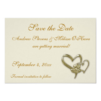 Gold Heart Charm Save the Date 5x7 Paper Invitation Card
