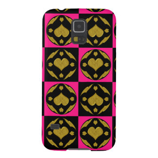 Gold Heart Circles Galaxy S5 Cases