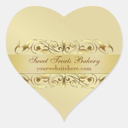 Gold Heart Cupcake Baking Label Sticker