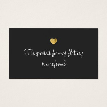 Valentines Themed Gold Heart Customer Loyalty Referral Card