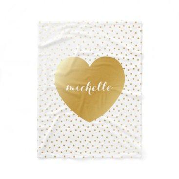 Valentines Themed Gold Heart Dots Pattern Custom Monogram Fleece Blanket
