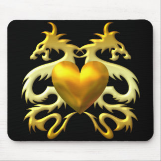 GOLD HEART DRAGONS MOUSE PAD