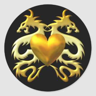 GOLD HEART DRAGONS ROUND STICKERS